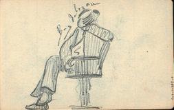 Dessin d'un homme assis, accoudé et endormi