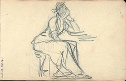 Femme assise accoudée