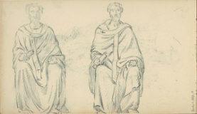 Page de carnet comprenant deux dessins bien aboutis de deux antiques