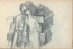 Esquisse du groupe sculpté que Jean Boucher a réalisé en marbre intitulé, «Un soir»