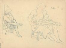 Deux dessins de personnages assis
