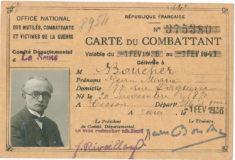 Carte du combattant de Jean Boucher