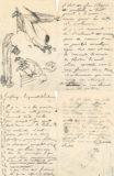 Feuillets d'écrits et de dessins de Jean Boucher