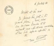 Lettre de condoléances d'un ami André Brunot lors du décès de la soeur aînée de Jean Boucher