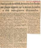 Une plaque apposée sur la maison du maître – Ouest France 1948